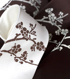 Cherry Blossom Necktie. White on dark brown, chocolate brown on cream.