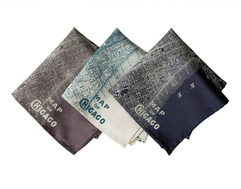 Chicago Map Pocket Square. Vintage City Map Print