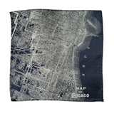 Vintage Chicago Map Pocket Square. Platinum on Navy City Map Print, by Cyberoptix