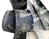 Map of Chicago Necktie. Vintage Street Map Print Tie, by Cyberoptix