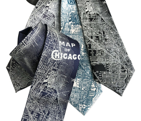 Chicago Map Necktie. Vintage City Map Print Tie