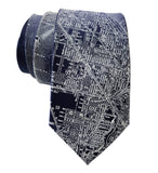 Vintage Chicago Map Necktie. Platinum on Navy Blue Tie, by Cyberoptix