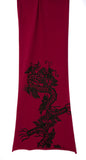 Black ink on raspberry red pima scarf.