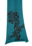 Chinese Dragon Pima Cotton Scarf, jade green