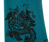 Black ink on jade green pima scarf.
