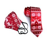 Ugly Christmas Sweater Mask, Adjustable holiday facemask and matching tie!