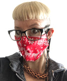 Ugly Christmas Sweater Mask, Adjustable holiday facemask - red