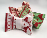 Ugly Christmas Sweater bow ties. scarlet on ivory; spring green; soft gold.