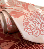Chrysanthemum Neckties, Floral Print Ties by Cyberoptix. Dark salmon on salmon.