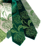 Chrysanthemum Neckties, Green Floral Print Ties by Cyberoptix. Clover green printing ink.