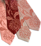 Chrysanthemum Necktie, Floral Print Tie by Cyberoptix. Dark salmon on peach, burgundy and salmon.