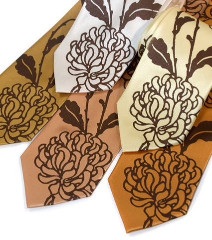 Chrysanthemum Silk Necktie