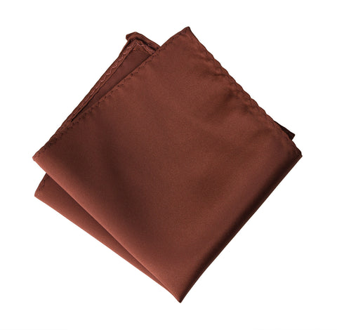Cinnamon Pocket Square. Solid Color Medium Brown Satin Finish, No Print