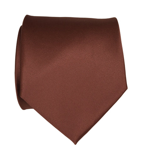 Cinnamon Necktie. Solid Color Medium Brown Satin Finish Tie, No Print
