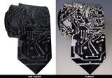 Circuit Board Necktie, Reflective Print on black with camera flash, Cyberoptix