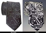 Circuit Board Necktie, Reflective Print on charcoal grey with camera flash, Cyberoptix