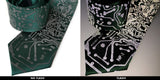 Circuit Board Necktie, Reflective Print on emerald green with camera flash, Cyberoptix