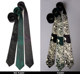 Circuit Board Neckties, Reflective Print Ties with camera flash, Cyberoptix