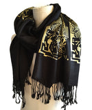 Black and gold Circuit Board scarf, by Cyberoptix