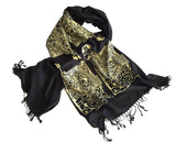 Circuit Board scarf, gold on black