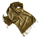 Circuit Board scarf, gold on olive