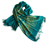 Short Circuit scarf. Circuit Board scarf, gold on teal