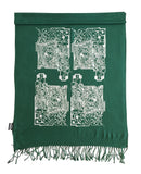 Circuit Board printed pashmina scarf, silver on emerald green, by Cyberoptix
