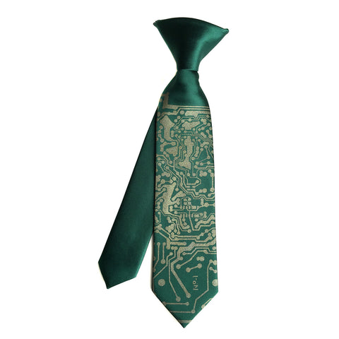 Circuit Board kids tie. Boys clip-on necktie