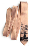 Copper Clipper Ship Linen Necktie, by Cyberoptix. Nautical Print Men's Tie