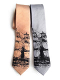 Clipper Ship Linen Neckties, by Cyberoptix. Silver and Copper Nautical Print Men's Ties