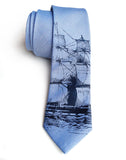 Periwinkle Clipper Ship Linen Necktie, by Cyberoptix. Nautical Print Men's Tie