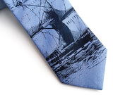 Clipper Ship Linen Necktie. Nautical Print Tie