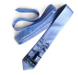 Light Blue Clipper Ship Linen Necktie, by Cyberoptix. Nautical Print Men's Tie