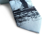 Powder Blue Clipper Ship Linen Necktie, by Cyberoptix. Nautical Print Men's Tie