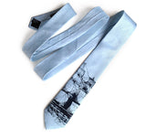 Pale Turquoise Clipper Ship Linen Necktie, by Cyberoptix. Nautical Print Men's Tie