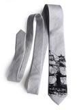Silver Clipper Ship Linen Necktie, by Cyberoptix. Nautical Print Men's Tie