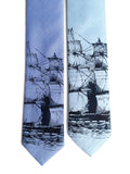 Light Blue Clipper Ship Linen Neckties, by Cyberoptix. Nautical Print Men's Ties