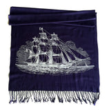 Navy Blue sailing ship scarf, by Cyberoptix