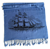 Cornflower sailing ship pashmina scarf, by Cyberoptix