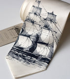 Clipper Ship Necktie, by Cyberoptix. Navy print on cream tie, standard width.