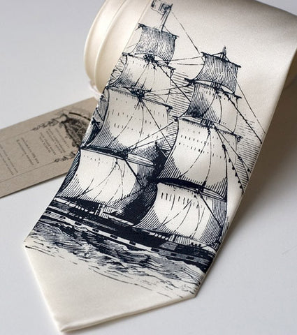 Clipper Ship Necktie, Nautical Print Tie