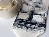 Sailing Ship Necktie, by Cyberoptix. Navy print on cream tie, standard width.