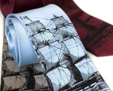 Clipper Ship Printed Tie, by Cyberoptix. Black on sky blue