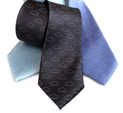 Cloud Print Necktie, Partly Cloudy Print Tie