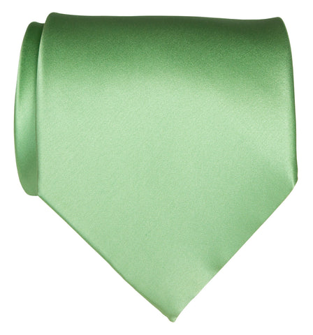 Clover Green Necktie. Solid Color Satin Finish Tie, No Print