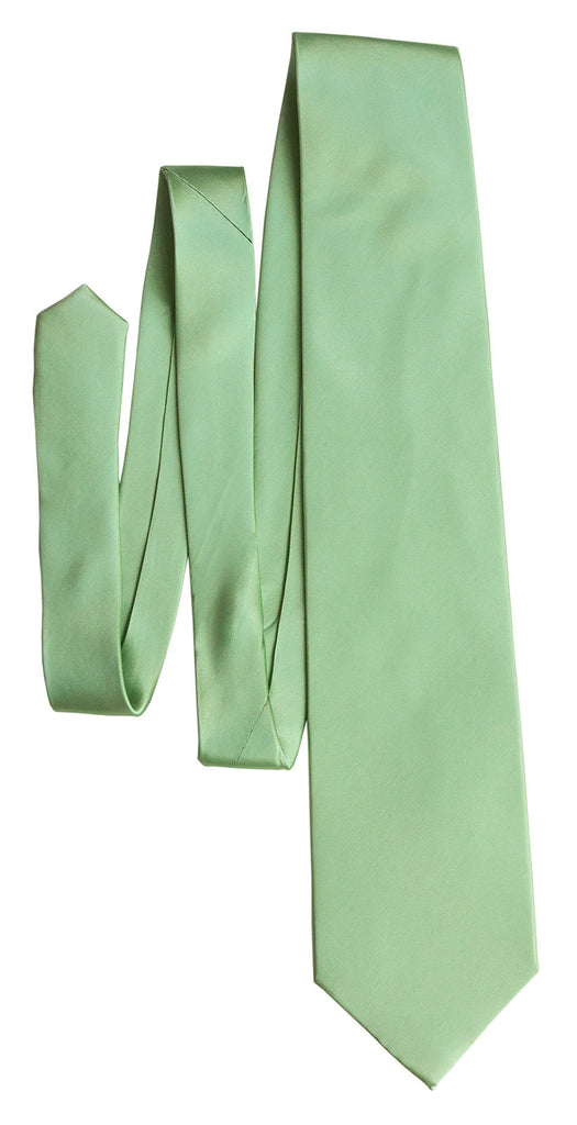 clover green necktie solid color satin finish tie no print - Clover Color