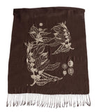 Espresso brown Coffee Bean Scarf, by Cyberoptix. Botanical Print linen weave pashmina
