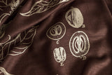 Coffee Plant Botanical Print linen weave pashmina, dark brown. By Cyberoptix