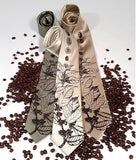 Coffee Bean Neckties. Espresso on champagne, sage, latte.