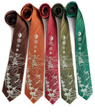 Coffee Plant Neckties, sage green print